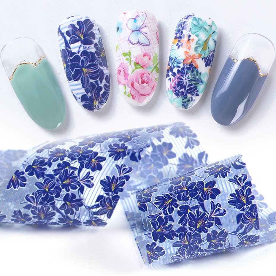 10pcs เล็บฟอยล์สติ๊กเกอร์ MIX Rose ดอกไม้โอนฟอยล์ Nails Decal Sliders สำหรับเล็บตกแต่งเล็บ Designs JI787