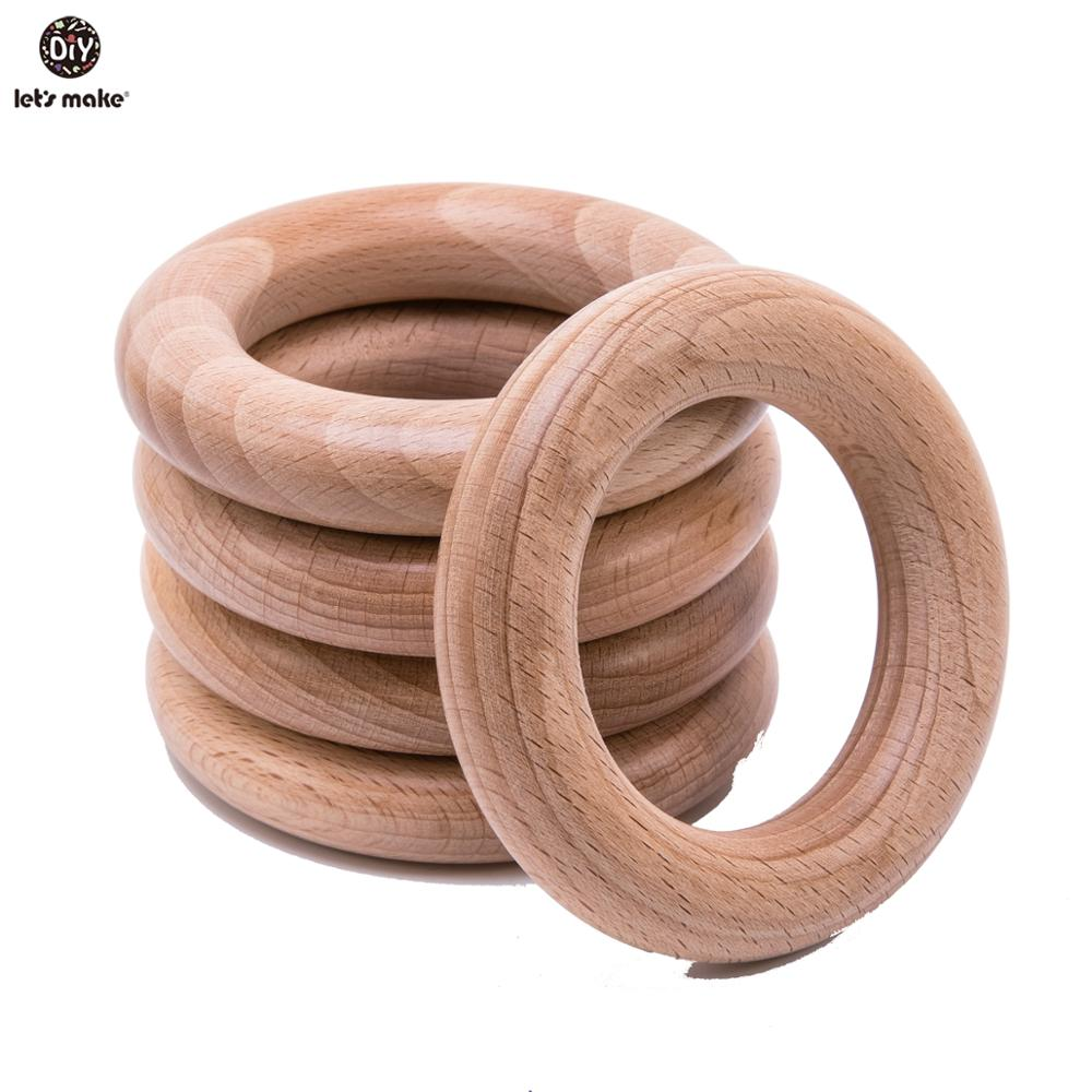 Let'S Make Beech Wooden Teether Ring 50Pc 70Mm Baby Teething Wooden Crafts Toys For Baby Rattles Wood Ring Baby Teether Stroller