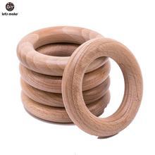 S はブナ木製おしゃぶりリング 50Pc 70 ミリメートルベビー歯が生える木製工芸品のおもちゃ木製リングベビーおしゃぶりベビーカー