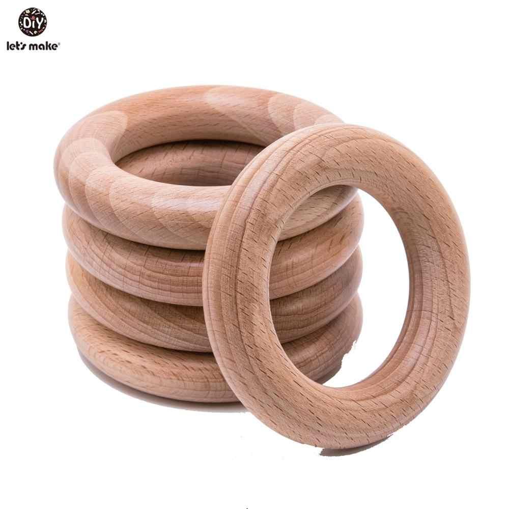 בואו לעשות אשור עץ Teether טבעת 10Pc 70Mm תינוק בקיעת שיניים עץ מלאכות צעצועי תינוק רעשנים עץ טבעת עריסה נייד Teether
