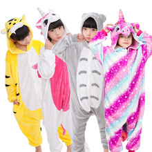 EOICIOI Animal Children Pajamas Set Flannel Hooded Stitch Unicorn Panda Pajamas Onesies Cosplay Kids Sleepwear For Boys Girls