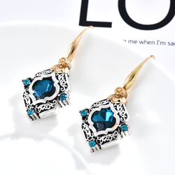 Rhinestone Rhombus Drop Earrings Statement Girls Party Jewelry Vintage Women Blue Crystal Dangle Earrings Wedding Engagement