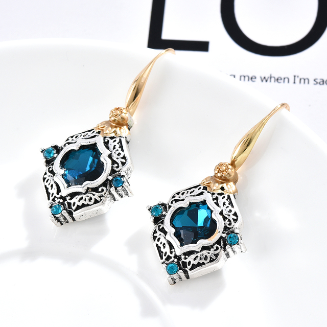 Rhinestone Rhombus Earrings Statement Girls Party Jewelry Vintage Women Blue Crystal Drop Dangle Earrings Wedding Engagement