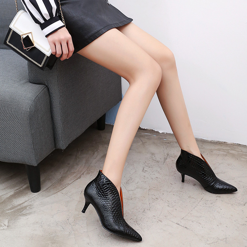 Snake Patent Leather Stilettos Pumps Women Shoes Tip Head V Mouth High Heels Women Shoes 2020 Spring Small Thin Heel Lady Pumps (12)