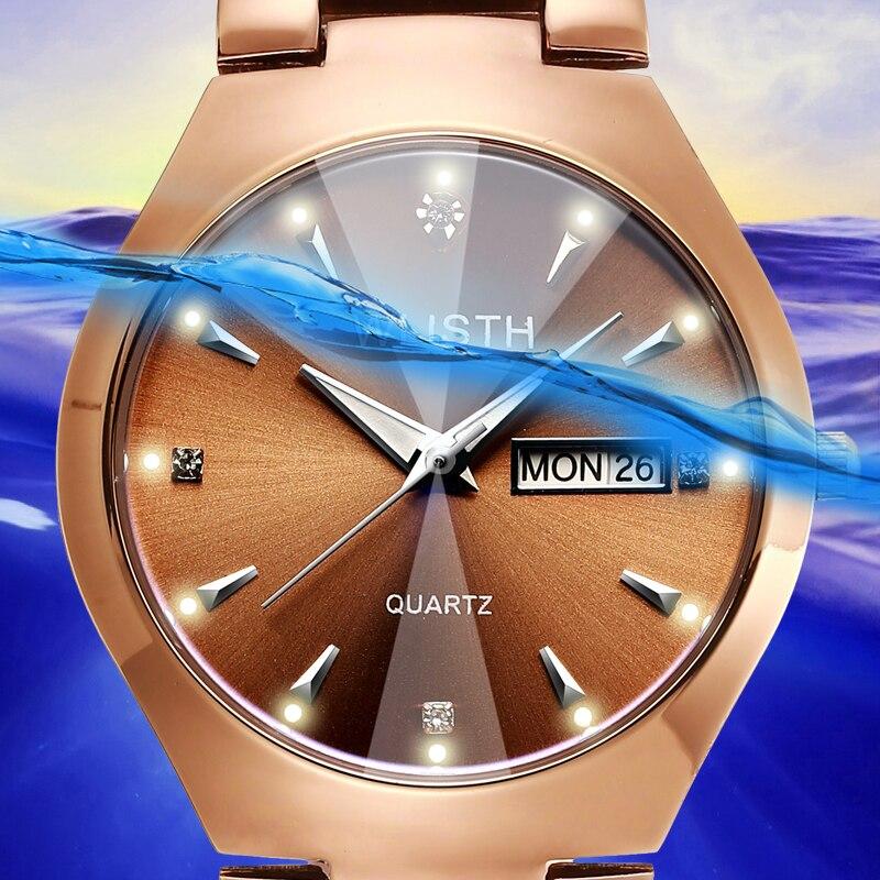 Coffee Gold Luminous Week Calendar Analog Display Waterproof Steel Belt Couple Student Men's Quartz Movement  Female Wrist Watch