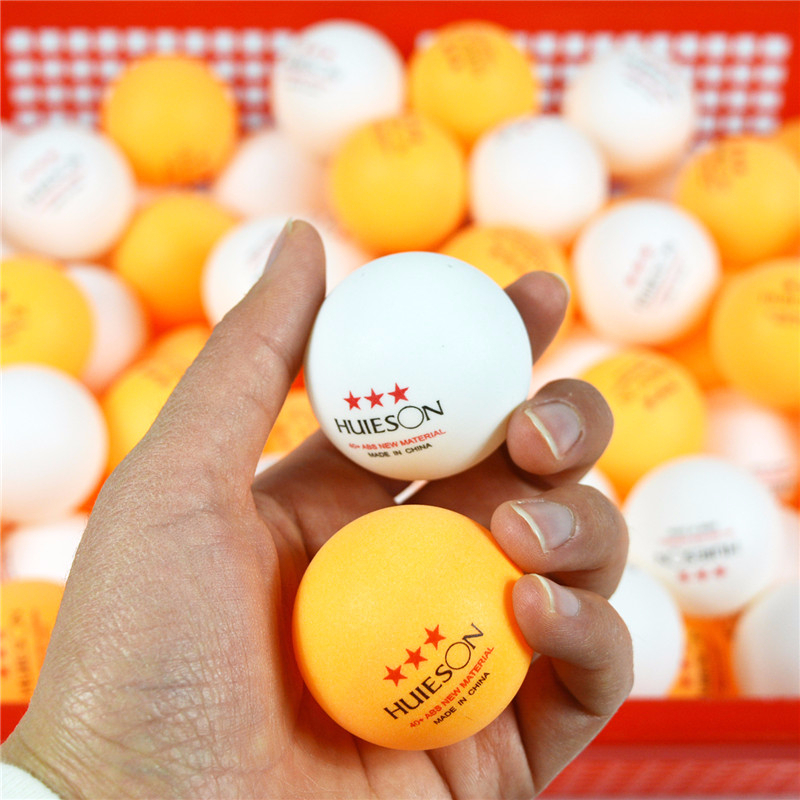 Huieson New Material English Marked 3 Star Table Tennis Balls Sets Practice Ping Pong Balls ABS Training Balls 10/50/100 Pcs