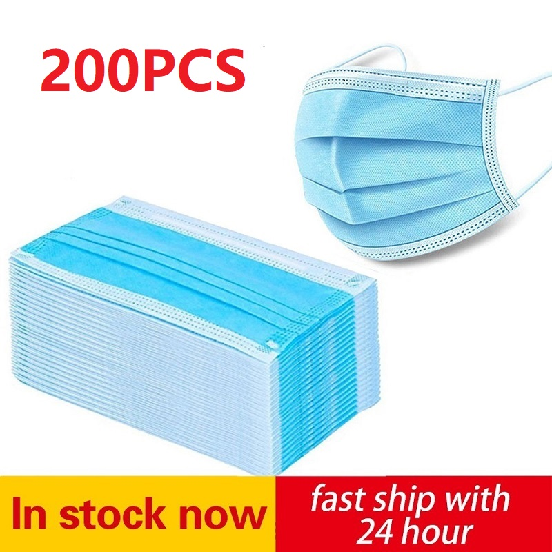 50-200 pièces masque jetable 3 couches masque médical Non-tissé filtre Anti-pollution visage Mascarilla adulte bleu bouche masque 1
