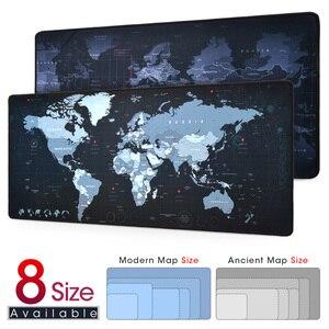 New World Map Speed Locking Edge Large Natural Rubber Mouse Pad Waterproof Game Desk Mousepad Keyboard Mat for Warcraft Dota LOL