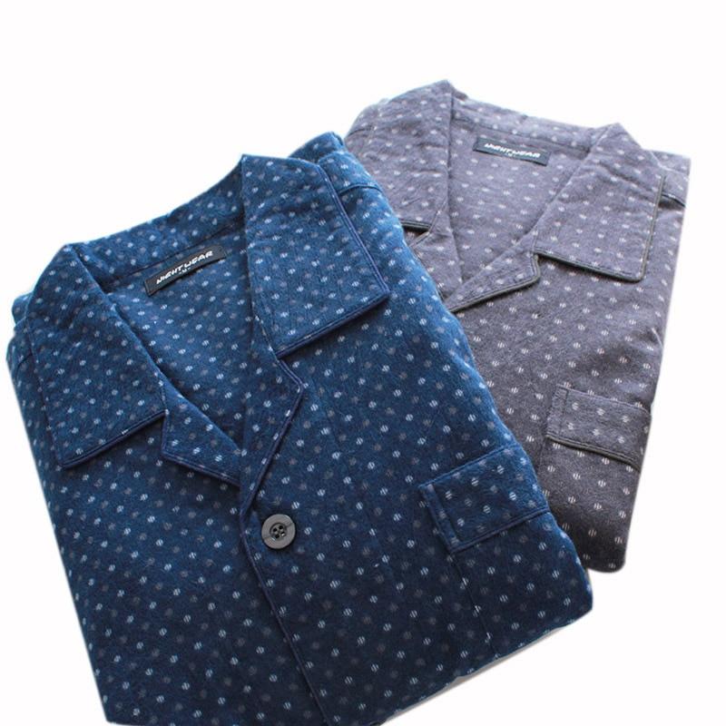 Autumn And Winter New Men's Cotton Velvet Pajamas Set Long-sleeved Trousers Home Service Suit Temperament