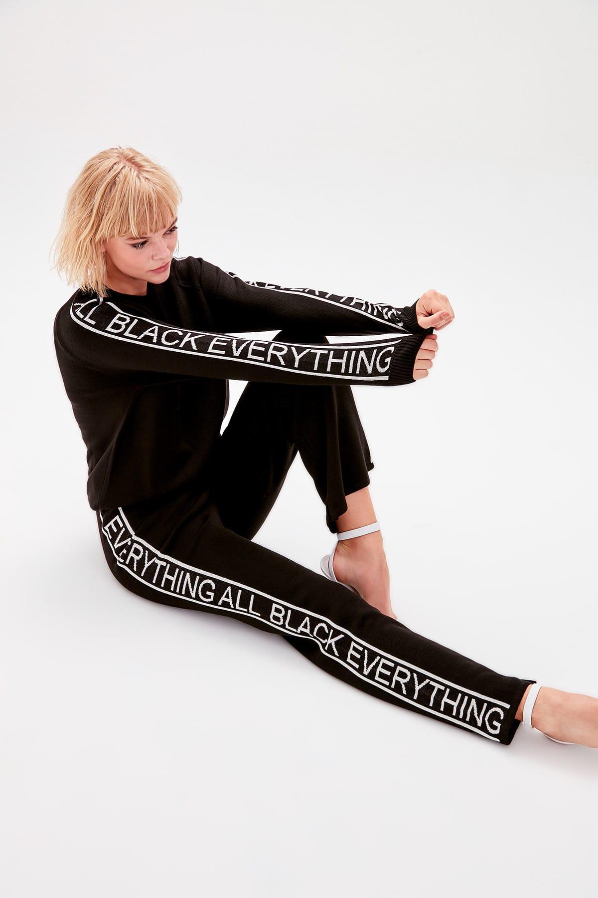 Trendyol Black Yanı Written Sweater Pants TWOAW20GO0025