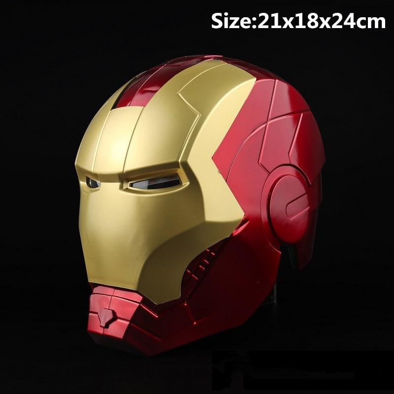 Nuovo Supereroe Iron Man Cosplay Maschera Tony Stark PVC Maschere a Pieno Viso LED Casco Halloween Party di Carnevale Puntelli