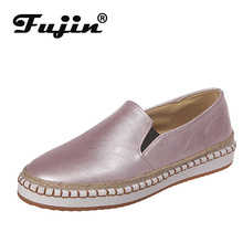 Fujin Flats 2019 European Patchwork Espadrilles Shoes Woman Genuine Leather Creepers Ladies Loafers White