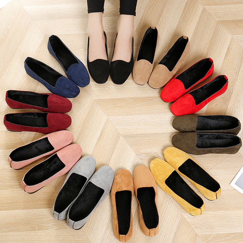 2020 Women Flats Plush Loafers Warm Slip On Flat Shoes Square Toe Woman Shoes Black Boat Shoes Ladies 6953 Big Size 35-42