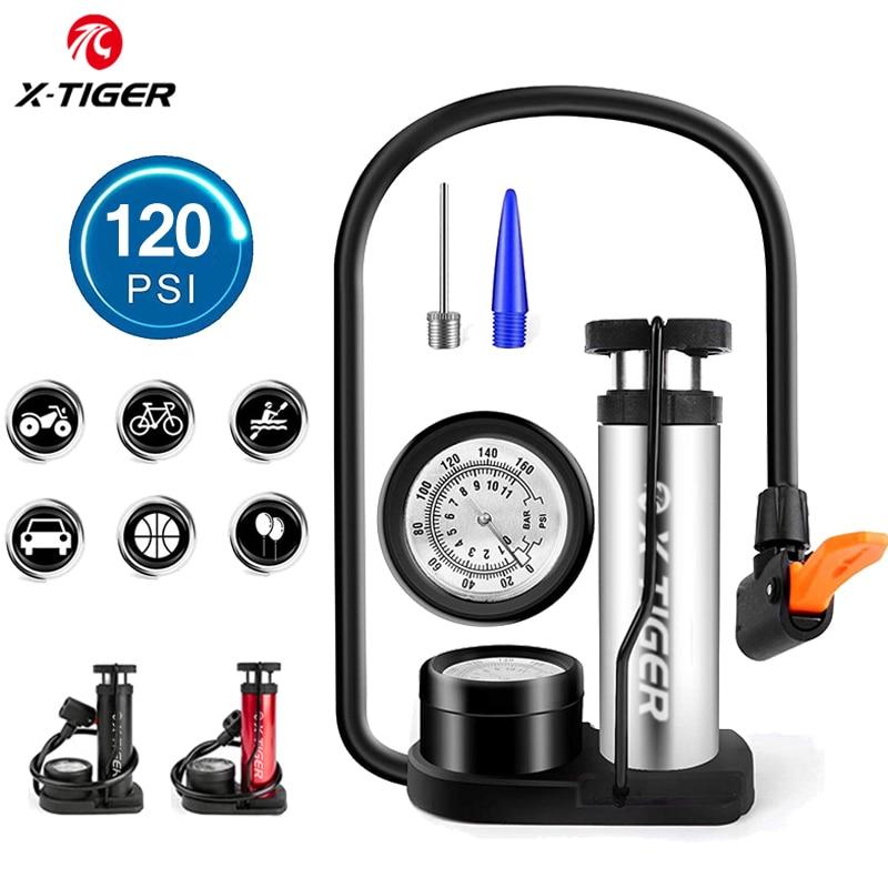 X-TIGER Bike Pump Mini Portable Bicycle Foot Pump with Pressure Gauge Accessories Fits Presta & Schrader Valve Bicycle Air Pump