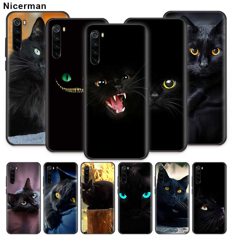 Black Cat Staring Eye Case For Xiaomi Redmi Note 9S 9 Max 7 8 8T 6 K30 Zoom K20 Pro 8A Black Silicone Coque Phone Cover Shell