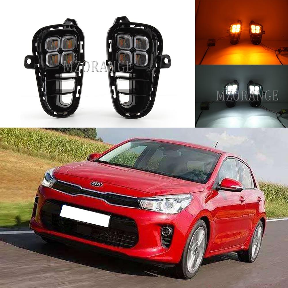 LED DRL For Kia RIO 2017 2018 2019 2020 Headlight Headlights Fog Lights Fog Light Daytime Running Lights Foglights Covers Frame