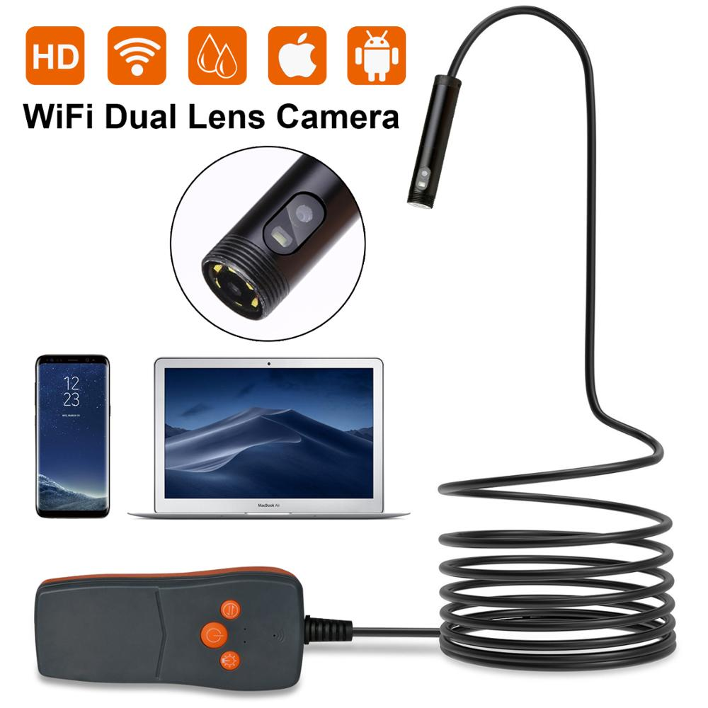Double Lens 8MM Endoscope HD Wifi Camera IP67 Waterproof Inspection Borescope Camera for Android PC Notebook 6LEDs Adjustable image