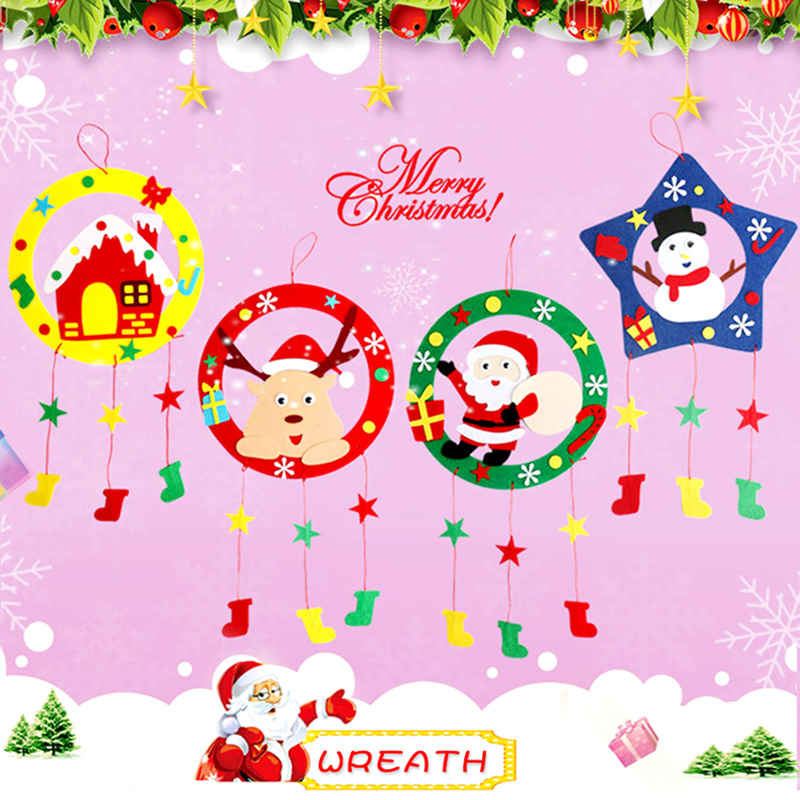 Kids DIY Garland Hanging Tree Ornaments Christmas Party Decoration Kindergarten DIY Handmade Material Puzzle Educational Toys