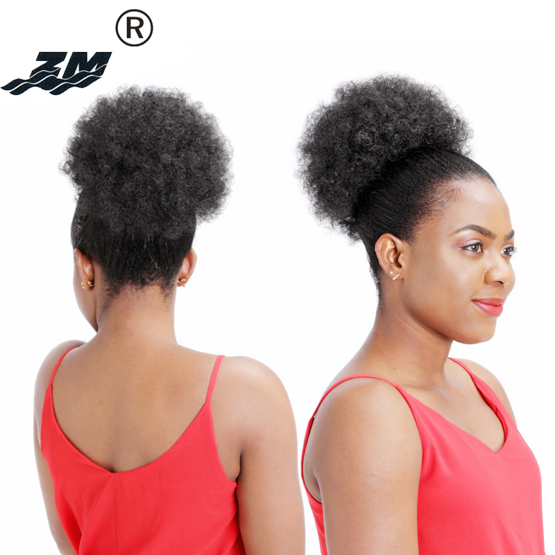 Afro Curly Puff Ponytail Drawstring Short Kinky Pony Tail Clip In On Synthetic Hair Bun Hair Extensions Chignon Hair Accessories