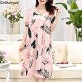 Nachthemden Frauen Gedruckt Trendy Süße Plus Größe 5XL Lose Chic Koreanische Stil Schöne Hause Frauen Sleep Nachtwäsche Komfortable