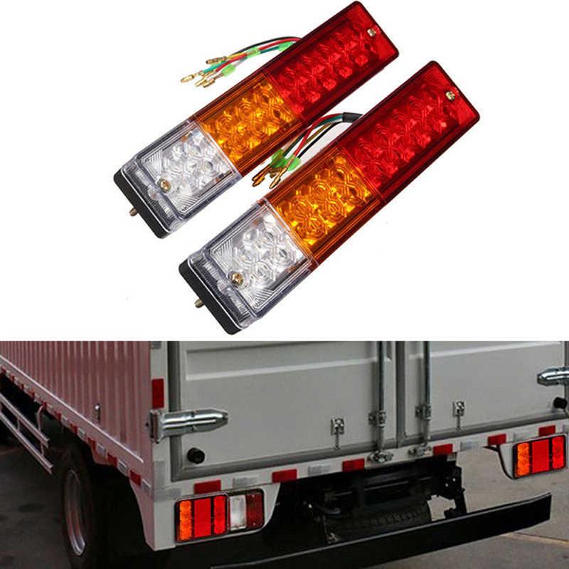 Luzes led à prova d'água para caminhão, 20 leds 12v, lâmpada traseira de carro, iate, reboque, luz de freio de corrida, curva