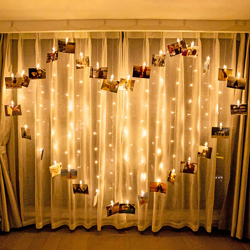 LED Icicle Light String Heart Love Shape Curtain Fairy Decoration Lights Christmas Wedding Party Surprise Creative Lights String