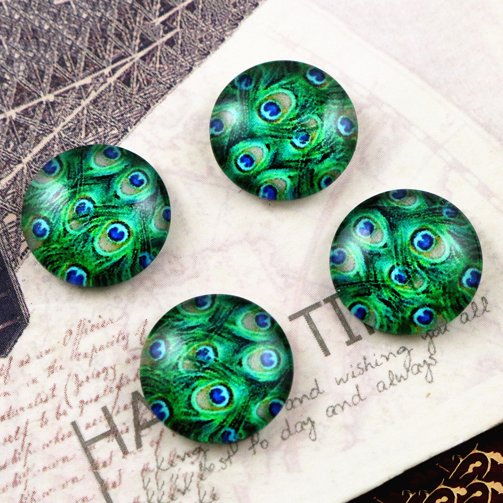 Hot Sale 20pcs 12mm Handmade Cool Style Photo Glass Cabochons  (E6-30)