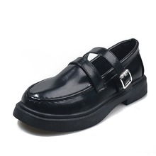 Shoes Japanese-Style Small Large-Size Women Mary Jane Student 40 One-Word-Button 41-43