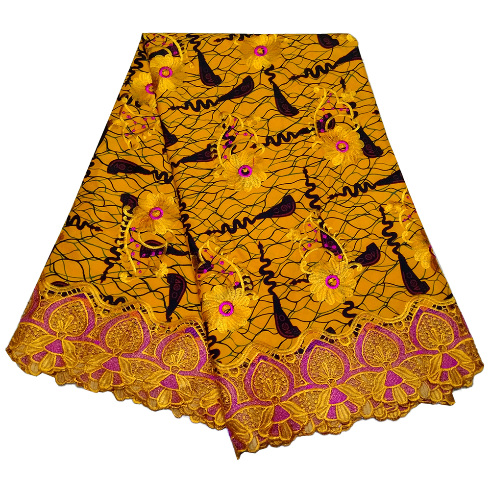 African Wax Fabric Embroidery Lace Fabric For Dashiki Dress