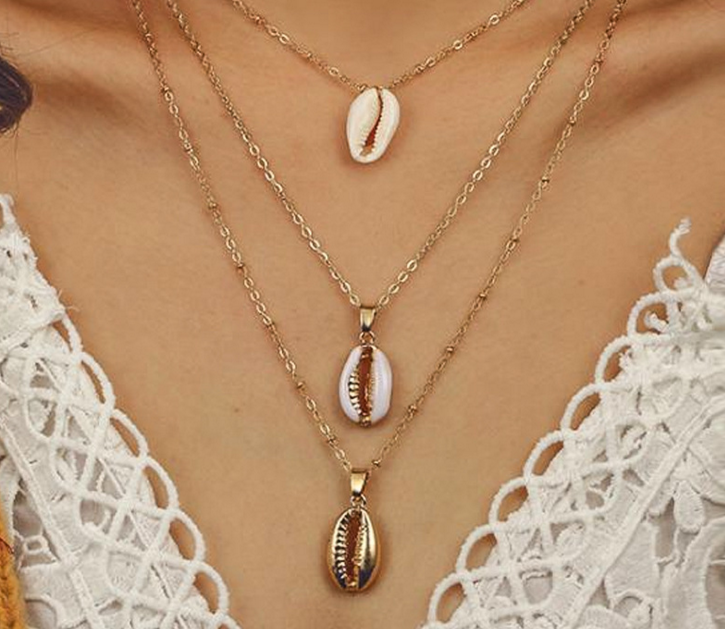 Three Layers of Shell Pendant Necklace Natural Shell Gold Cowrie Women Best Friend Cowry Choker Summer Necklace Bohemian Jewelry
