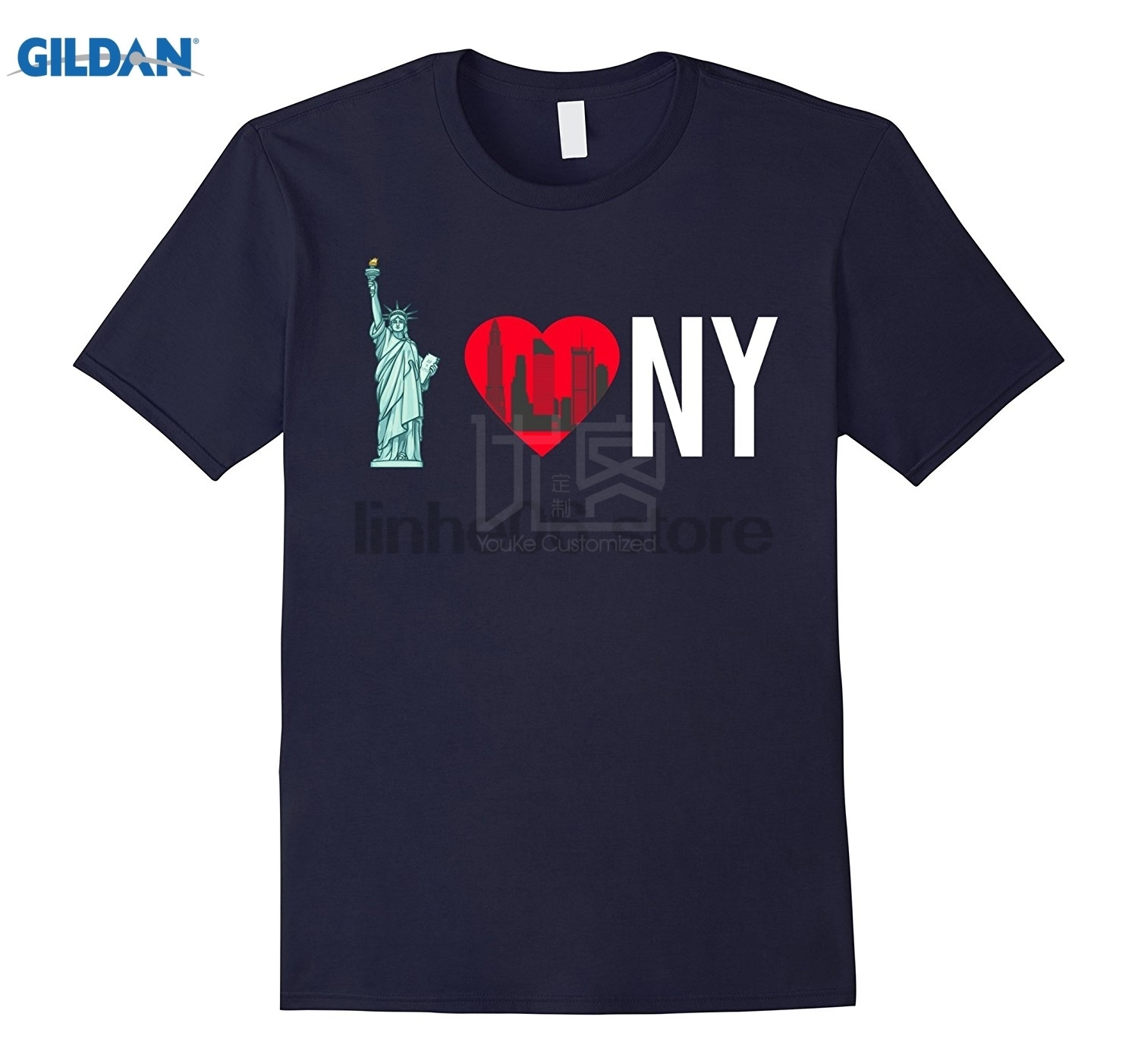 <font><b>I</b></font> <font><b>love</b></font> <font><b>NY</b></font> <font><b>Shirt</b></font> - New York City Skyline Gift Summer Mens T <font><b>Shirt</b></font> Funny Tees Cotton Tops T <font><b>Shirt</b></font> Vintage Crew Neck image