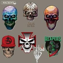 цена на Nicediy Dark Punk Skull Iron On Transfers On Clothing Rock Patches Hippie Heat Transfer Vinyl Sticker Applique On Clothes Badge