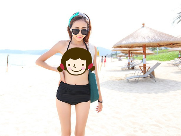 Women's Alone High-waisted Swimming Trunks Pleated Belly Covering Pregnancy Slimming Elasticity Good Effect Very Not Translucent