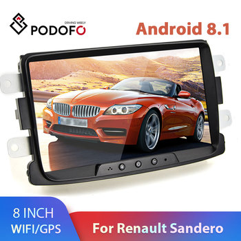 Podofo 2 Din Android 8.1 Car radio Multimedia Video Player auto Stereo GPS 8'' For Renault Sandero LOGAN II Duster Dacia DOKKER image