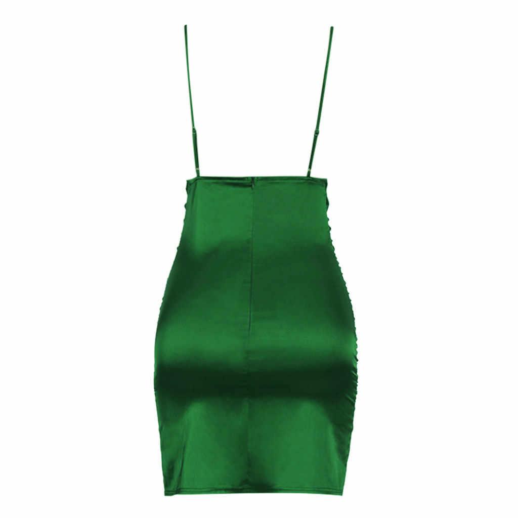 2020 Sexy Mini vestido de fiesta verde sólido más vendido para mujer Vestidos de verano sin espalda Sexy Vestidos de fiesta Club nocturno Vestidos #3