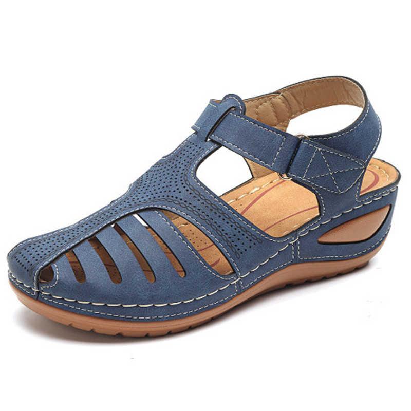 Kadın 2020 yaz deri bağbozumu sandalet toka rahat dikiş kadın Retro Sandalias kadın bayanlar platform ayakkabılar 36-46