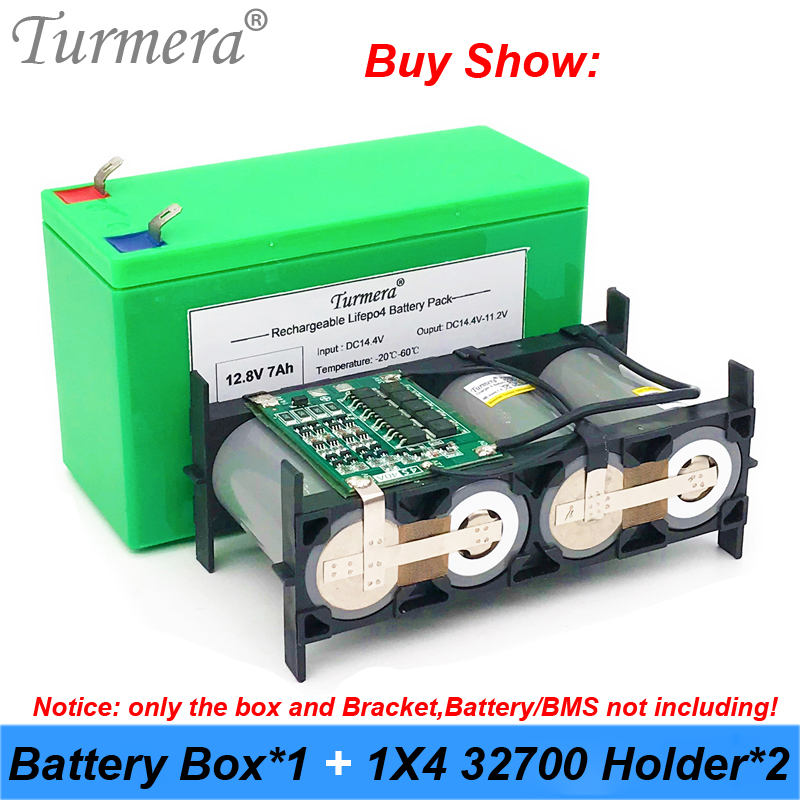 Turmera 32650 32700 Lifepo4 Battery Storage Box With 1x4 Bracket For 12V 7Ah Uninterrupted Power Supply And E-bike Battery Use