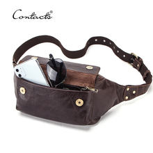 CONTACT'S Travel Waist Packs Men Genuine Leather Bags Fanny Pack for Male Casual Belt Bag Passport Cover with Phone Pocket