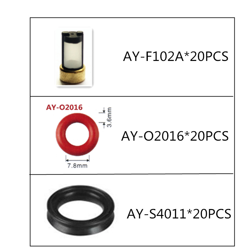 free shipping 60pcs fuel injector repair kit filter oring grommets rubber seals for lexus car