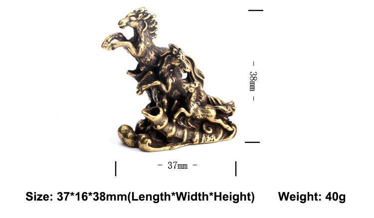 Brass Running Horses Small Statue Ornaments (14)