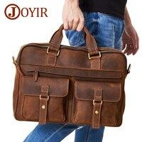 JOYIR Men's Briefcase Bag Genuine Leather Leather Laptop Bag Business Computer Shoulder Bag Crossbody Messenger Handbag Male Bag