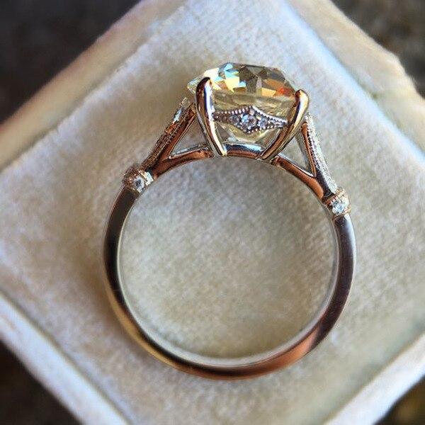 Женские обручальные кольца с большим цирконием цветные из стерлингового