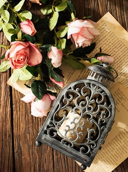 Windproof Luxury Table Candle Holder Outdoor Black Iron Vintage Candle Holder Moroccan Romantic Portavelas Candlestick New