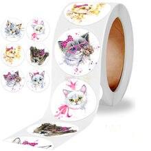 Novo ponto 500 pces/rolo crianças animal bonito dos desenhos animados adesivos decoração do feriado presente série adesivos