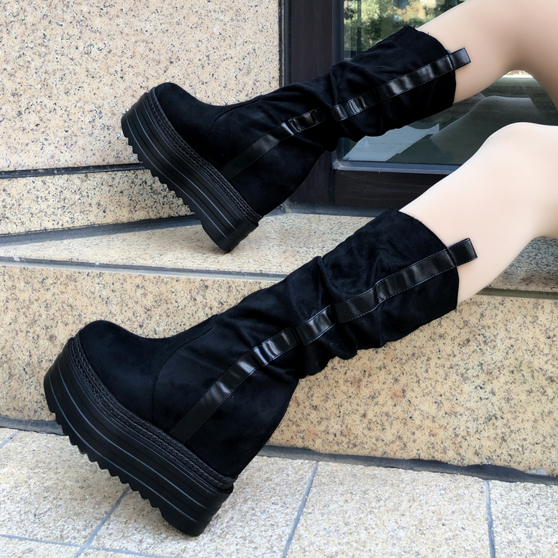 Winter Increases Heel Women's Ankle Boots Thick Bottom Wedges 13cm High Heel Platform Shoes Black Martin Boots Female