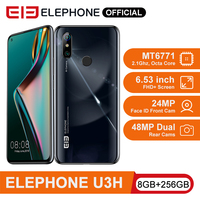 ELEPHONE U3H Helio P70 Octa Core 6.53 FHD+ 8GB 256GB Android 10 24MP Selfie 48MP Camera Mobile Phone 3500mAh NFC Cellphone
