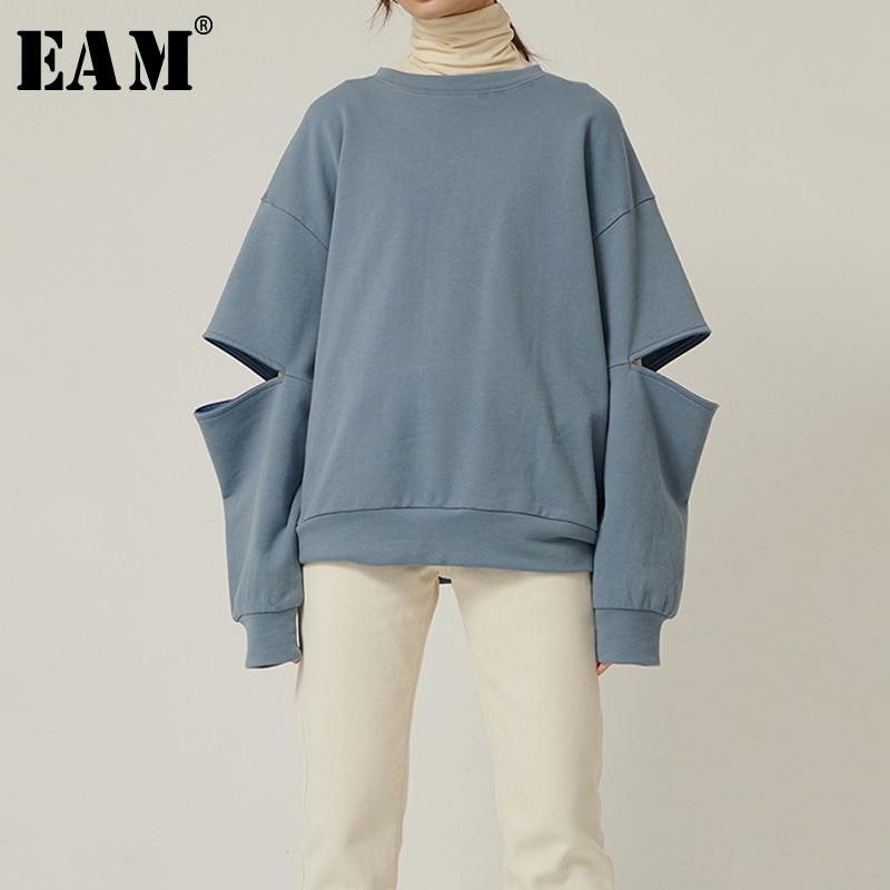 Женская футболка с длинным рукавом EAM, синяя футболка большого размера с вырезом на молнии, с длинным рукавом, на весну осень 2020, 1R573|Футболки|   | АлиЭкспресс