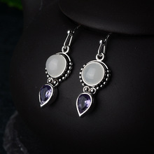2019 New Crystal Vintage SIlver Drop Earrings for Women Boho Bohemian Fashion Jewelry Korean