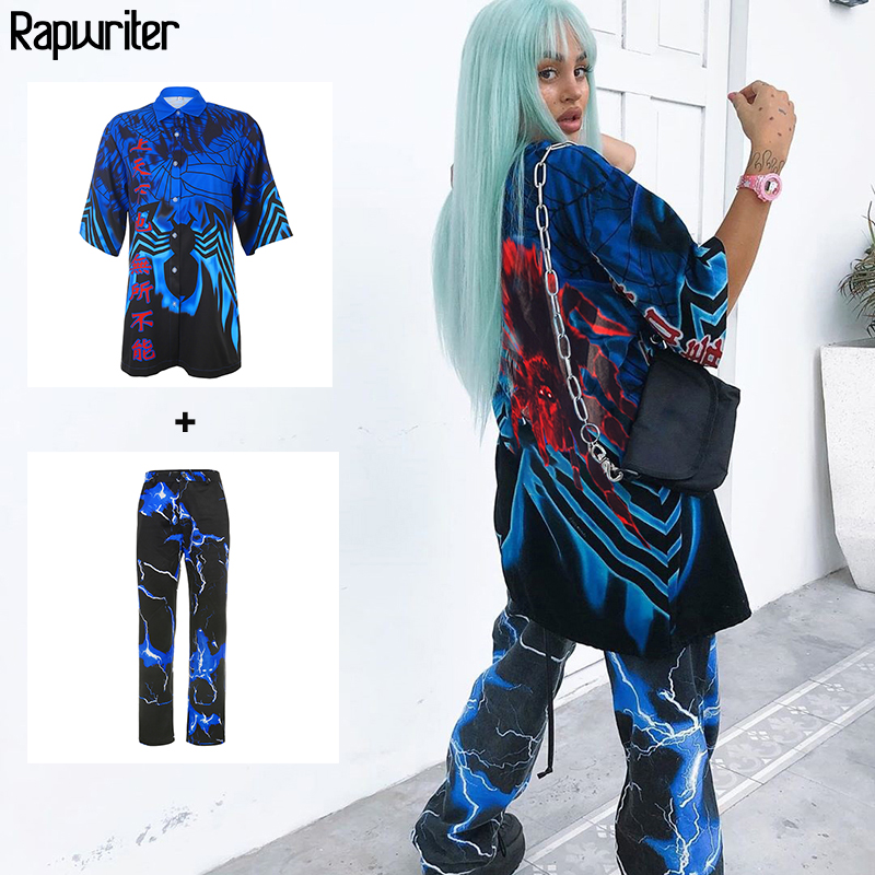 Rapwriter Streetwear Spider Print Long Blouse Women 2020 Summer Chinese Elements Hip Hop Blouses Loose Half Sleeve Tops Button