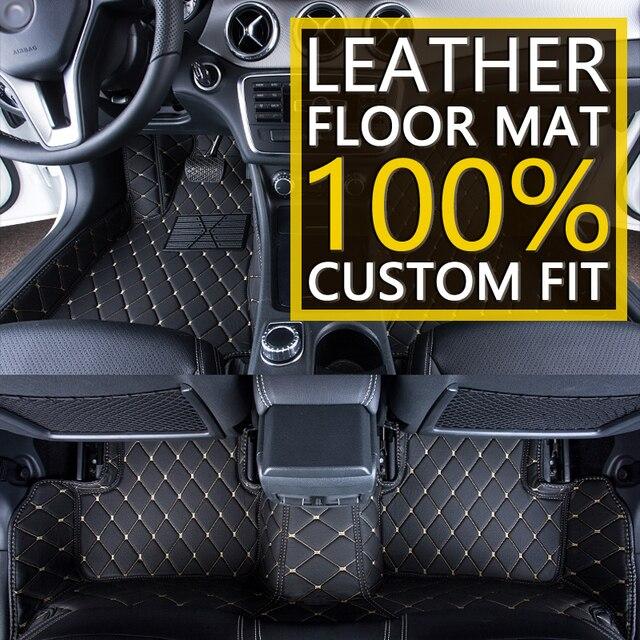 Tapis de sol en cuir de voiture sur mesure pour SEAT Leon MK3 5F 5 sièges 2013 ~ 2019 accessoires de tapis de protection de pied automatique 2014 2015 2016 2017 2018 4